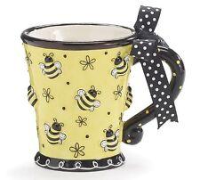 Bumble Bee Days Coffee Mug Cup Tea Ceramic 10 oz Gift Box Yellow Black Bees