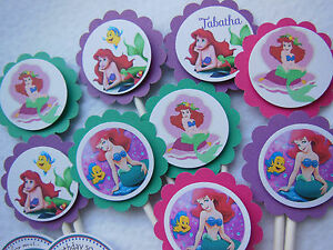 Ariel Mermaid Cupcake Toppers Birthday Party NEW Pack 12 Under the Sea Princess