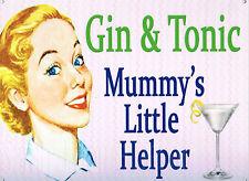Gin & Tonic Mummy's Little Helper Retro Metal Tin Sign Collectable Fun *New*