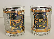Queen Mary Spruce Goose Decorative Tumbler Glass Set of 2 22K Gold