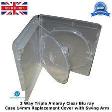100 x AMARAY 3 Vie Chiaro Blu Ray caso 14mm spina dorsale interna SWING VASSOIO copertura tripla