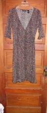New York & Co. Faux Wrap Dress Animal Print Size Med Ruffle Trim