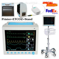 USA ICU Patient Monitor CO2 Vital Signs Monitor 6 Parameters+Printer+ETCO2+Stand