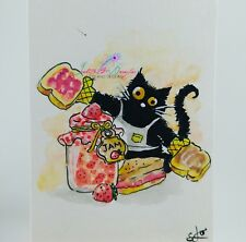 ACEO cat #234 original painting black cat peanut butter jelly whimsical pet