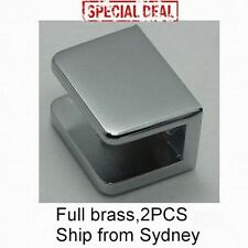 MIRROR CHROME SQUARE BRASS GLASS CLAMP CLIP BRACKET HOLDER X2 6-12mm 20Kg