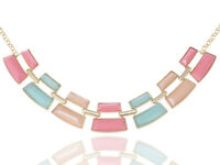 Gold Contemporary Pastel Blue Pink Color Rectangular Beaded Necklace Pendant New