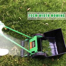 Hand Push Lawn Mower 20cm Cut Manganese Steel Blade Grass Catcher Home Garden