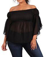 Women's Smocked Bodice Sheer Off Shoulder Top Black