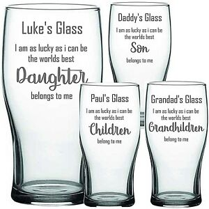Personalised Engraved pint Glass FATHERS DAY DAD DADDY Granda Birthday Christmas