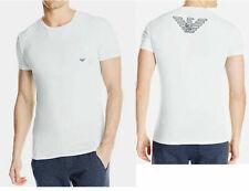 White Emporio Armani Mens  Crew Neck T-shirt Big Eagle Stretch, Size Large NWT