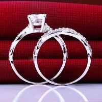 Women Lady Gemstone CZ Wedding Engagement Ring Set Band Rings Size 6-9
