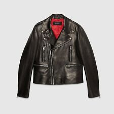 NWT GUCCI Moto Blouson Black Cafe Racer Mens Lamb LEATHER Jacket 44/54 $5500