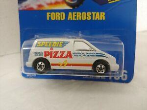 Hot Wheels Blue Card No 186 Ford Aerostar Speedie Pizza Van New 0546 1990
