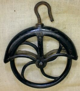 """Old Well Fender Pulley 9"""" LARGE 1880's vintage rustic iron #10 Barn find Black"""