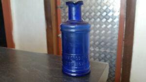 1900s cobalt blue staffordshire ink bottle