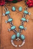Squash Blossom Necklace Set Turquoise Howlite Silver Tone Cowgirl Tribal Gypsy