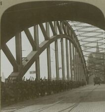 British troops in occupation crossing Cologne Bridge - WW1 Stereoview