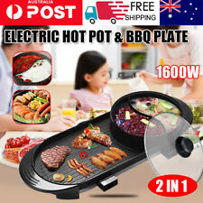 AU Electric 2 in 1 Hotpot Oven Smokeless Barbecue Pan Grill Machine Hot Pot BBQ