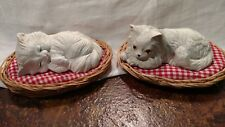2 Vtg George Good Kitty Cats in Wicker Beds with Cushions Made in Taiwan