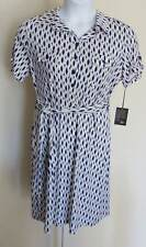 NEW Valerie BERTINELLI Geometric Print DRESS Ladies Sz 14 Stretch Blue Grey Whit