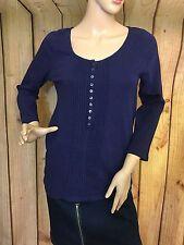 J.Crew Women's Knit Top L Purple Long Sleeve Pleated
