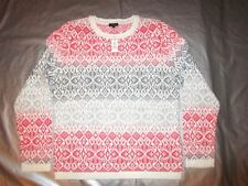 NWT TALBOTS SWEATER Large L Salmon Gray NORDIC Design Lambswool Cotton Crewneck