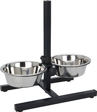 Stainless Steel Nonslip Pet Dog Cat Feeder Twin Adjustable Stand Food Water Bowl