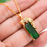 Luxury Gold Plated Gold Color Leopard Rectangle Cut Green Emerald Necklace Chain