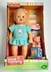 """Fisher Price Little Mommy Baby's Big Day Doll 12"""" Discontinued Blue Dress"""