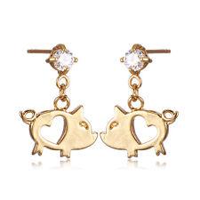 Cute Babys Pig 18K Gold Plated Crystal Little Girls Stud Earrings jewellry
