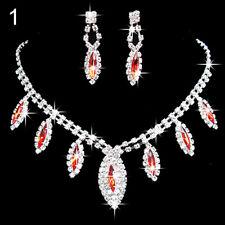 *PARURE BIJOUX STRASS rouge*.collier, boucle d'oreille mariage cérémonie soirée.