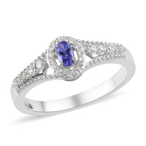 5x3mm NATURAL GENUINE AAA TANZANITE & TOPAZ DINNER COCKTAIL GYPSY RING