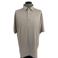 FootJoy Mens XL Beige Gingham Check Golf Polo Wicking Stretch Fairway Shirt