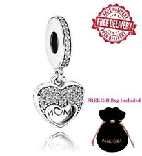 Pandora I Love My Mum Heart Dangle Charm Sterling Silver S925 Cubic Zirconia NEW