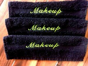 MAKEUP REMOVAL BLACK COTTON WASH CLOTHS LIME SCRIPT MAKEUP EMBROIDERY SET OF 3