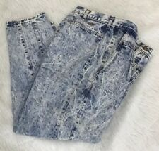 Vintage 80s Chic Women's 20w Jeans Acid Wash High Rise Pleated Detail Jeans