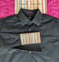 "Paul Smith Men's Black Shirt -17"" Collar - PS Stripe Contrast Cuffs - FAB SHIRT"