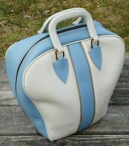VINTAGE Retro BOWLING BALL BAG Powder Blue & White w METAL RACK Coats/Clark Zip