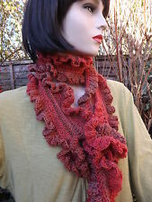 Frilly Scarf Coral Pink Red Multi Mix  Hand Crocheted 50% Wool & Pumium Acrylic