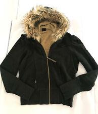 Miss Sixty Black Jacket Faux Fur Hoodie Sweatshirt Size M, Extra Comfy & Cute