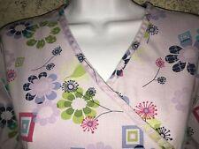 SB Scrubs 976 FLSQ top dental nurse S mock wrap back tie lavender floral squares