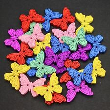 40 WOOD BUTTERFLY BUTTONS - MIXED COLOURS - CRAFT - SCRAPBOOK - SEWING - CARDS