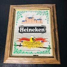 Imported Heineken Framed Beer Bar Sign Mirror Advertising Wood Framed