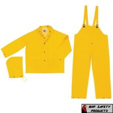 3 Piece Safety Rain Suit Yellow Rain Jacket w Detachable Hood and Overalls