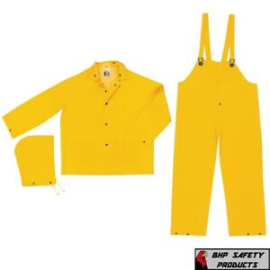 3 Piece Safety Rain Suit Yellow Rain Jacket with Detachable Hood and Overalls