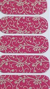 SILVER FLORAL ON MAGENTA Jamberry Half Sheet Pink Nail Wraps Metallic Vines 1/2