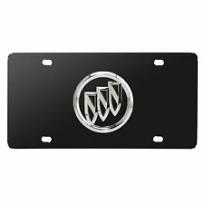 Buick 3d Chrome Metal Logo Black Stainless Steel License Plate