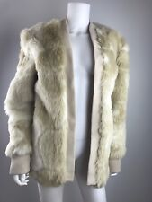 Leith Faux Fur Winter Jacket Beige Cream Size M/L Holiday Warm Vegan NEW