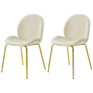 Set of 2 Velvet Accent Chairs with Gold Metal Legs