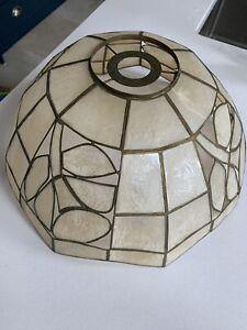 Vintage Capiz Shell Lamp Ceiling Large Shade Retro Mid Century